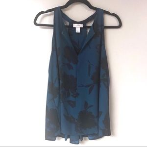 Loft - Flowy Floral Tank - Teal/Black - Medium